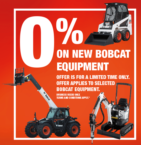 0% on new Bobcat Equipment from TVE Hire & Sales