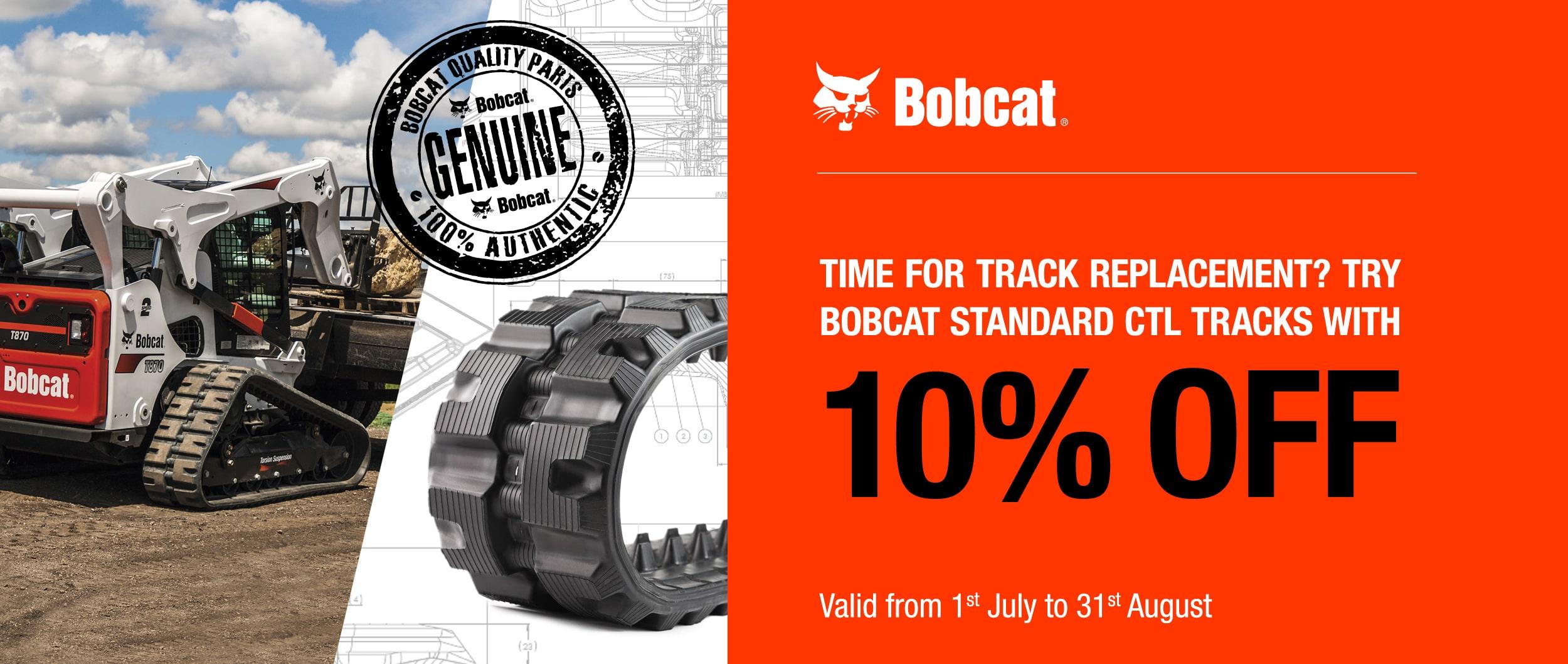 10% off Bobcat tracks TVE hire bobcat sales